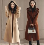 大人っぽく上品なフード付きコート スタイリッシュ スリット ロングコート 4色 大きいサイズ