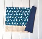 ランチョンマット(園サイズ) ブルーあひる×オレンジチェック 26×36