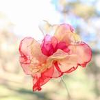 赤と黄色 カラフルオーガンジーのアートフラワー【造花】