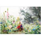 『朝はのんびり』 朝のひと時をのんびり過ごす小人さん きれいな春の花のイラスト  ポストカード