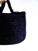 F様ご依頼品/ネイビーの模様編みボーダーのトートBAG