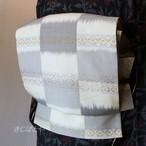 正絹 花織の市松の袋帯 リバーシブル