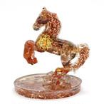 馬型 カーネリアン&瑪瑙 オルゴナイト 置物 財運をもたらす馬モチーフ