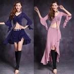 ベリーダンスファッション衣装セット女性ジプシー服ボリウッドベリーダンスの練習洋服オリエンタル衣装 2 個スーツ