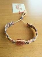「ピンク水晶」のマクラメ編みブレスレット218~送料無料~