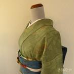 正絹紬 苗色に竹や楓の小紋 袷の着物