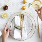 華やかなゴールド&高級クリアガラスプレート【S&Mサイズセット】海外デザイン‼︎お皿 食器 ディナー ホームパーティー レストラン クリスマス 引越し祝い