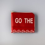 """GO THE PATHLESS WAY  / Less is bore"" printed L zip small wallet"