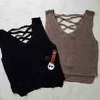 back design knit tank Black/Brown