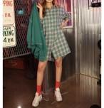 予約注文商品 チェックロングシャツ シャツ ロングシャツ チェックシャツ 韓国ファッション