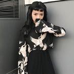 【tops】プリントレトロPOLOネックシングルブレストシャツ19616254