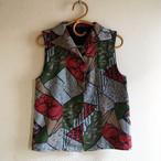 秋の色いろいろ衿つきベスト【受注制作】-綿着物(古布)から