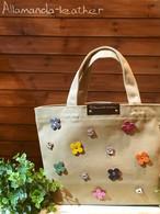 スモールランチトートバッグ(サンドブラウン)花色マルチカラー