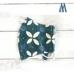 【おおやまとみこ】立体布マスク(七宝崩し緑)・レディースサイズ/マスク