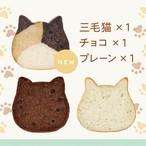 《9月の新商品》ねこねこハウス(おおきめサイズ)付き! ねこねこ食パン3個セット(プレーン&チョコ&三毛猫)【送料・税込】