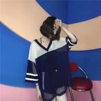hit color v neck long shirts 1695