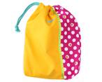 大きな巾着袋 体操袋・給食袋×イエローピンクドット-片ひも 入園グッズ 入学準備