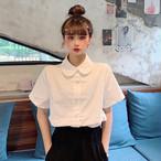 【送料無料】 チャイナドレス風 ブラウス シャツ トップス 丸襟 レトロ ガーリー カジュアル シンプル