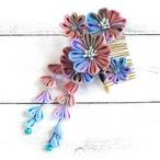 【Izuchi】つまみ細工の虹の花ヘアコーム/ヘアコーム