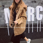 残りわずか! エコファー ジップコート もこもこ アウター 無地 フード キャメル ピンク ダークグリーン グレー 秋 冬 カジュアル シンプル ゆったり おしゃれ かわいい 韓国 韓国ファッション オルチャン オルチャンファッション P587