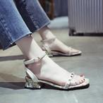 【shoes】ファッションリベットミドルヒール無地 サンダル