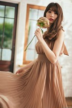 Pleated Chiffon Ribbon Midi Dress