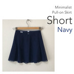 ◆[SHORT] Minimalist Ballet Skirt : Navy (ショート丈・プルオンバレエスカート『ミニマリスト』(Navy(ネイビー))