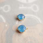 深いブルーのラインストーンチャーム(12ミリ・2コ)