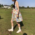 【dress】スウィート小柄ボタンボートネックプルオーバーワンピース