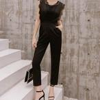 <L即納>豪華レース オールインワン ブラック パンツドレス