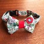 猫の首輪 リボン首輪 レッド 花柄