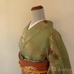 洗える着物 抹茶色に梅と松の小紋 袷