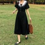 ワンピース 半袖 ミディアム丈 セーラー 韓国ファッション オルチャンファッション