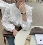【韓国レディースファッション】 6215 レトロ ガーリー 丸襟 フリル ブラウス 可愛い 送料無料