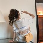 【送料無料】 レディー見えTシャツ♡ カジュアル ガーリー バックシャン レース 背中開き オーバーサイズ Tシャツ