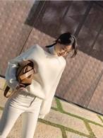 ショルダーカットニット ニット セーター 韓国ファッション