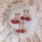 antique style pink rose & pink stone ( ピアス・イヤリング )