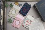 【卒入学祝い】刺繍のパスケース・ベージュ×小花