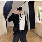 ☆MENS  ブラックホワイトブラウス 韓国ファッション