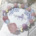 【wa様オーダー3本分】ローズクォーツバラの春色ブレスレット、カット水晶ブレスレット、うまくいくオパールガラスブレスレット