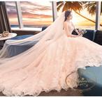 ladies wedding dress white long A-line happy ceremony 海外 ウエディングドレス ピンクホワイト かわいい Aライン 大花柄