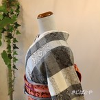 正絹紬 モノトーンの小紋 単衣