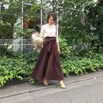 KU-UM×maki リボンマキシスカート ブラウン