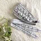 再販【ボーダー Gray & White ◆タックフリル】 心地よくフィットするヘアバンド