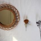 お部屋をかわいくしてくれる 籐の鏡 Sサイズ