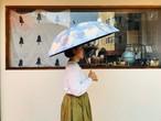 晴雨兼用日傘/バンブーハンドル(幾何学模様・水色×黄色)