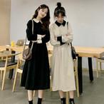 【送料無料】 レトロ感が可愛い♡ バイカラー 襟付き ハイウエスト ミモレ丈 ワンピース