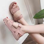 【shoes】無地厚底キュート丸トゥサンダル20839153