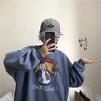 【tops】カジュアルプリント長袖ラウンドネックパーカー14845927
