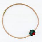 飛騨春慶塗 革紐ネックレス 緑箔 50cm (N002)